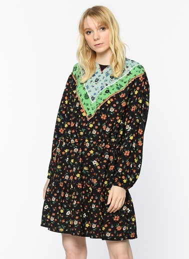 Uzun Kollu Çiçekli Elbise-Twist
